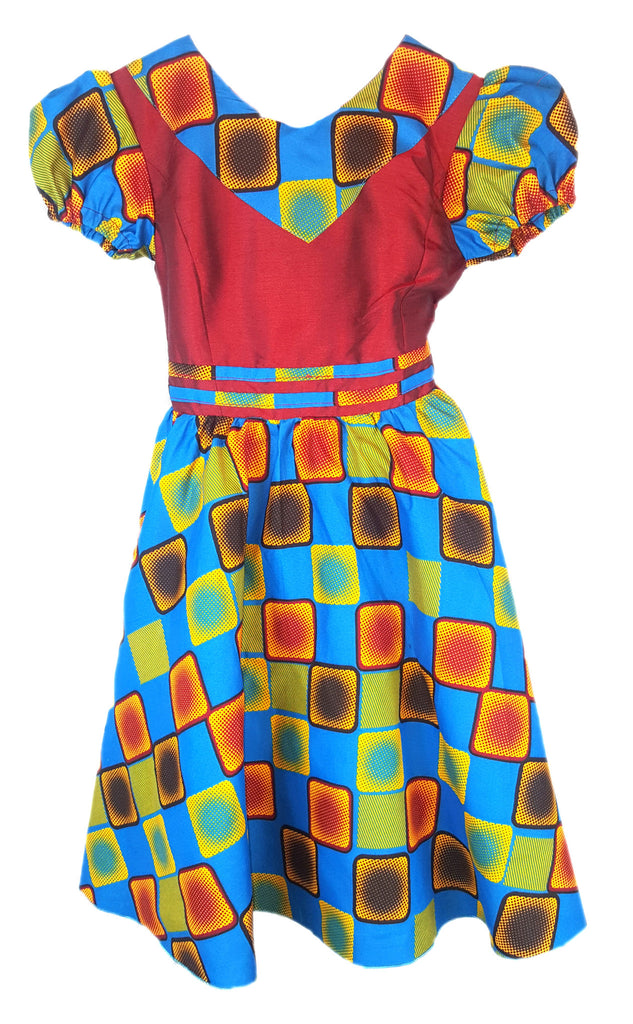Girls African Print V Neck A Line Children Occasion Party Dresses. Maroon and Blue