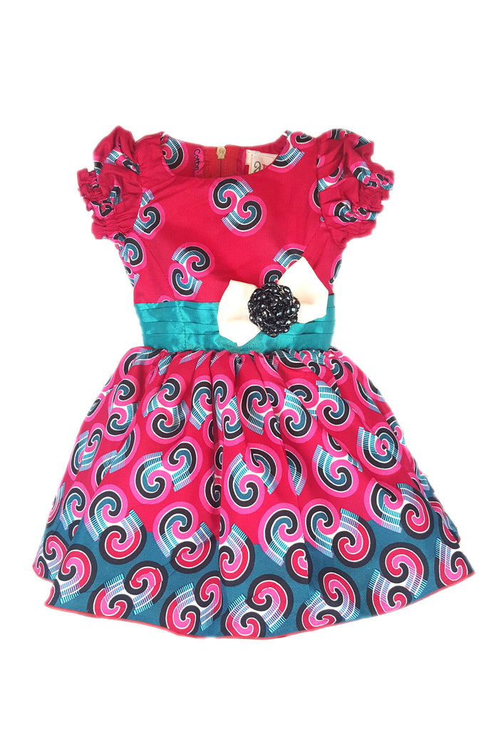 Ankara African Print Purple Dresses for Baby Girls