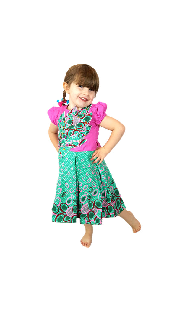 Girls African Print Box Pleated Leafy Design Occasion Party Children Clothes Dresses Pink and Green
