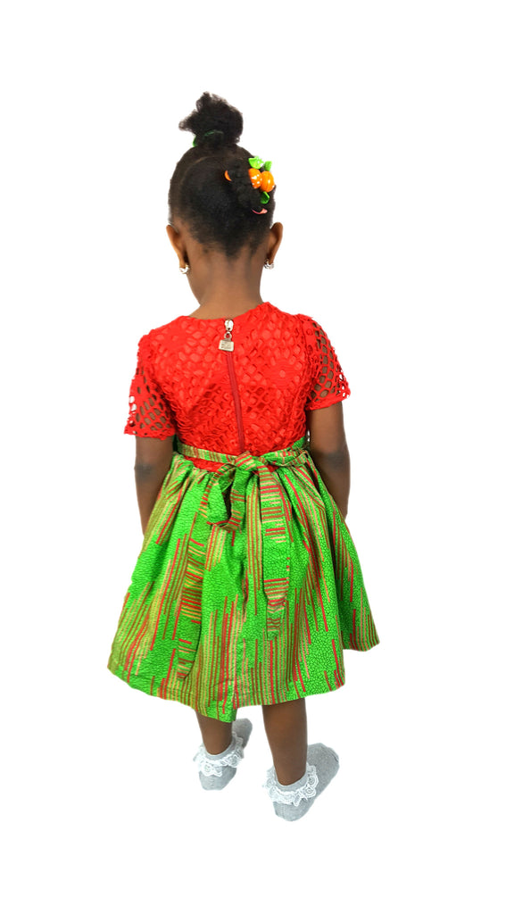 Girls African Print Lace Top Occasion Party Dresses Children Clothes Red and Green