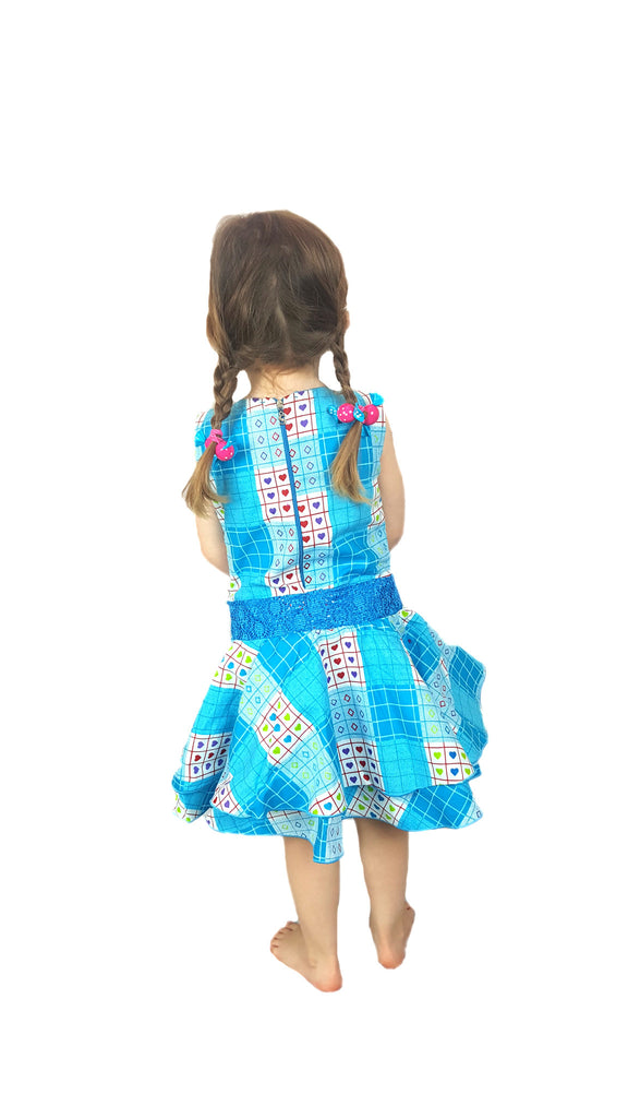 Girls Checked and Heart Pattern Design African Print Stepped Dresses Blue