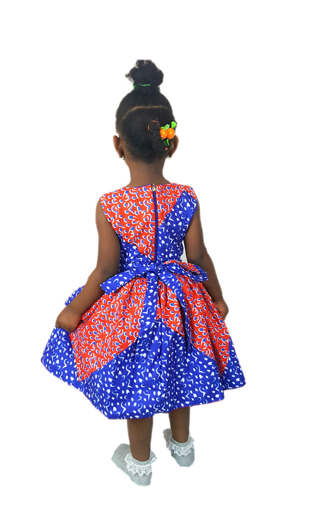 Girls African Print Bow Pin Up Flared Children Occasion Party Dresses. Blue and Red