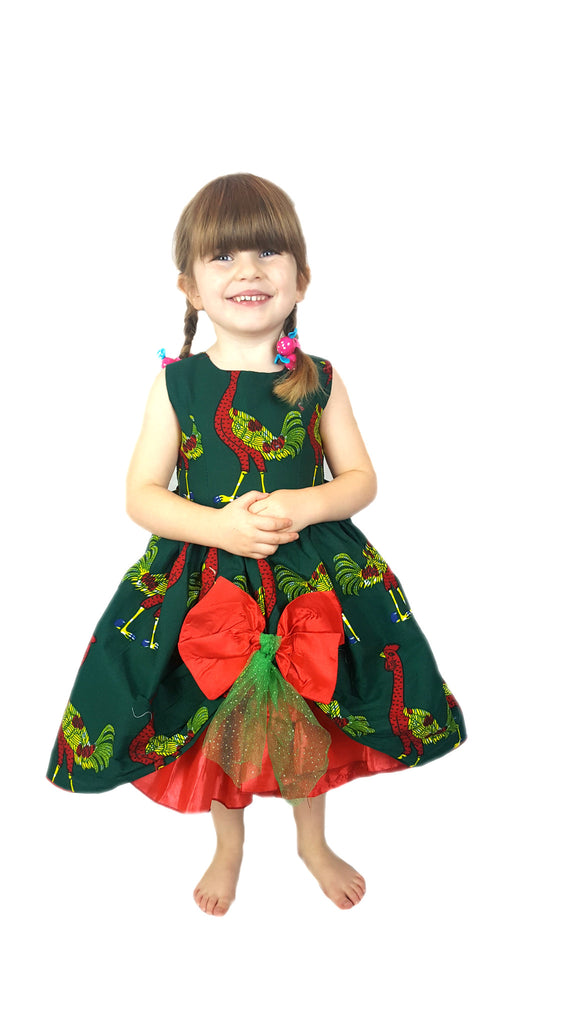Girls African Print Bow Pin Up Flared Children Occasion Party Dresses. Christmas Turkey Clothes Green and Red