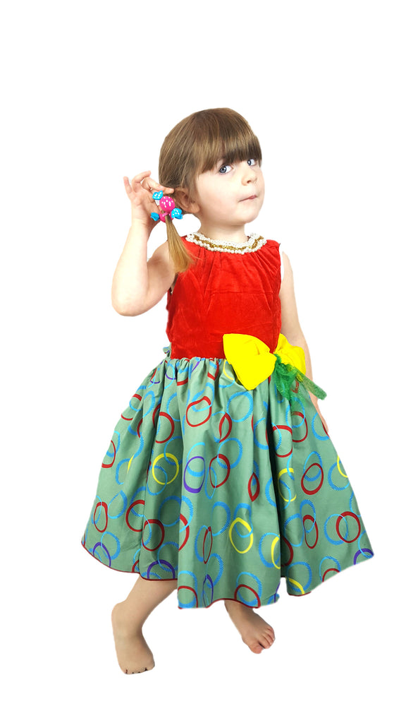 Girls African Print Pleated Flared Occasion Party Dresses With Beads Trimmed Neck Red and Green
