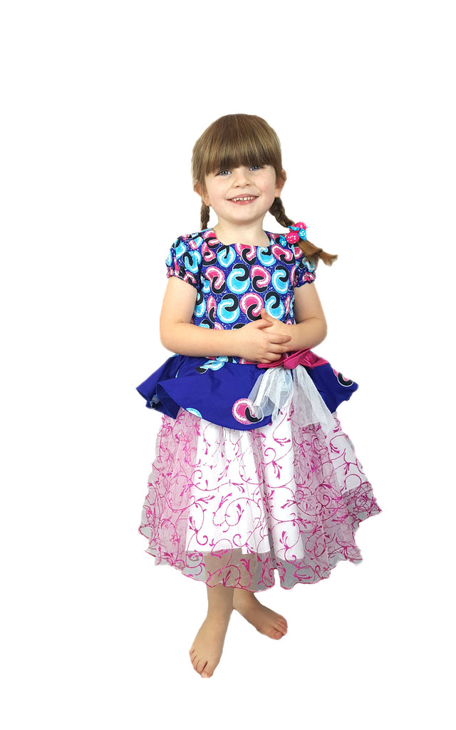 Girls African Print Peplum Occasion Party Dresses with Net Flared Buttom Blue and Pink