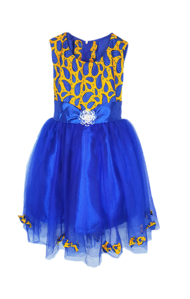 Girls Blue African Print Tutu Dresses