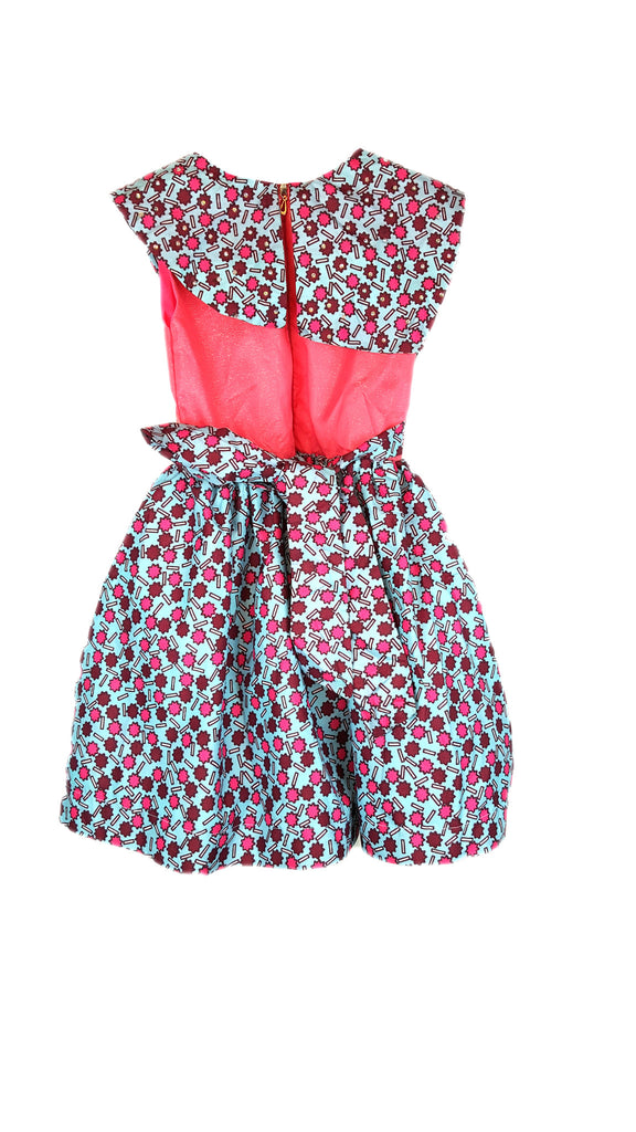 Girls Dresses - African Print Flared Dresses with Feature Cape Children Clothes Pink