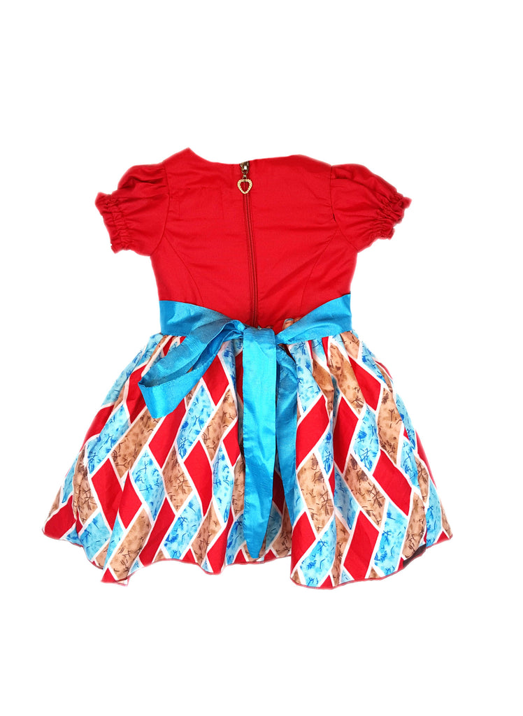 Ankara African Print Blue Dresses for Baby Girls