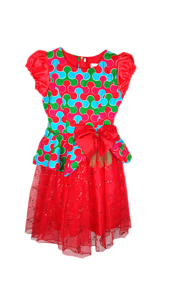 Girls African Print Peplum Occasion Party Dresses with Net Flared Buttom Red and Green