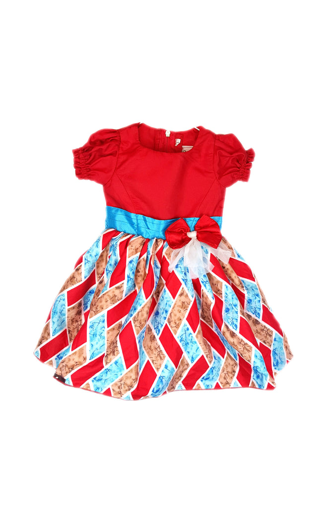 Ankara African Print Red Dresses for Baby Girls