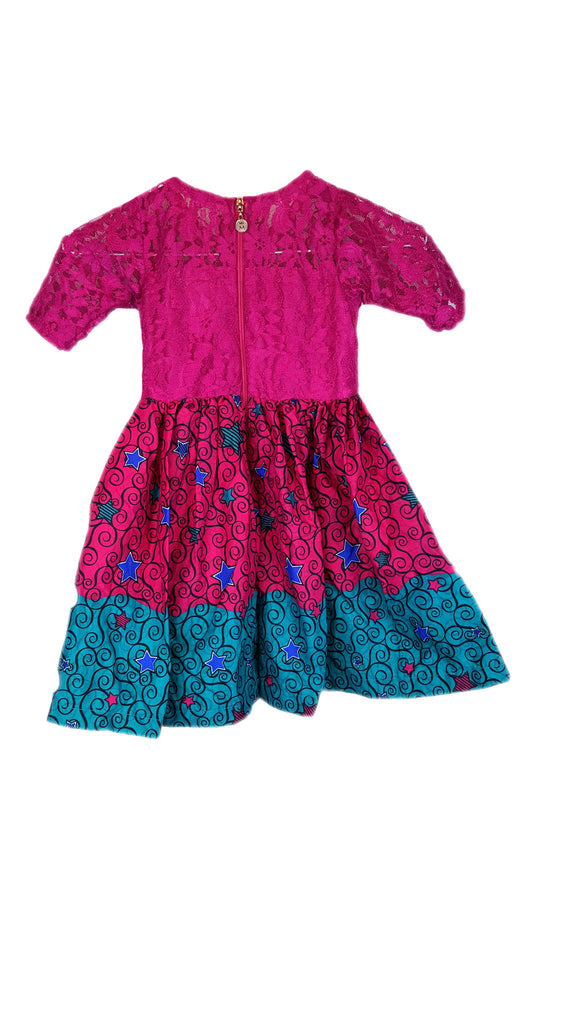 Girls Dresses Lace Top with African Print Pleated Dresses. Pink and Blue Children Clothes
