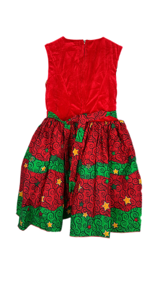 Girls Dresses African Print Pleated Flared Sleeveless Dress With Beads Trimmed Neck Red and Green