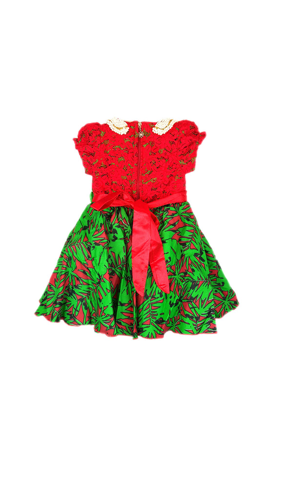 Girls Dresses African Print and Lace Pleated Dress With Beads Trimmed Neck Red and Green