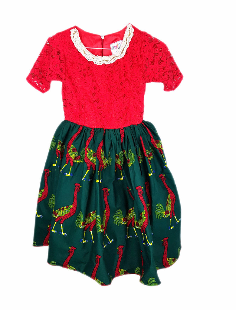 Girls African Print and Lace Pleated Occasion Party Short Sleeves Dresses With Beads Neck Red and Green