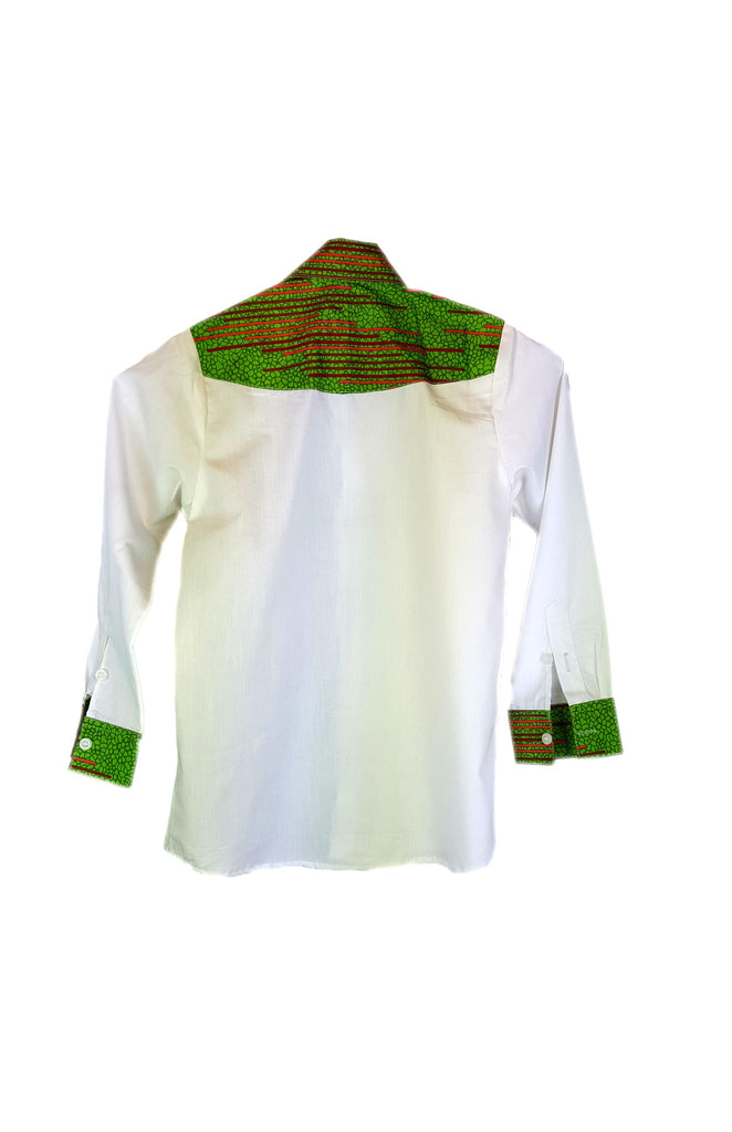Boys Shirt - Long sleeves white and green fitted shirts enhanced with a fusion of African Print