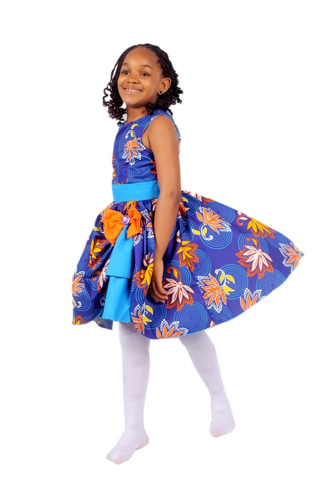 Girls African Print Bow Pin Up Flared Dresses Children Clothes Blue