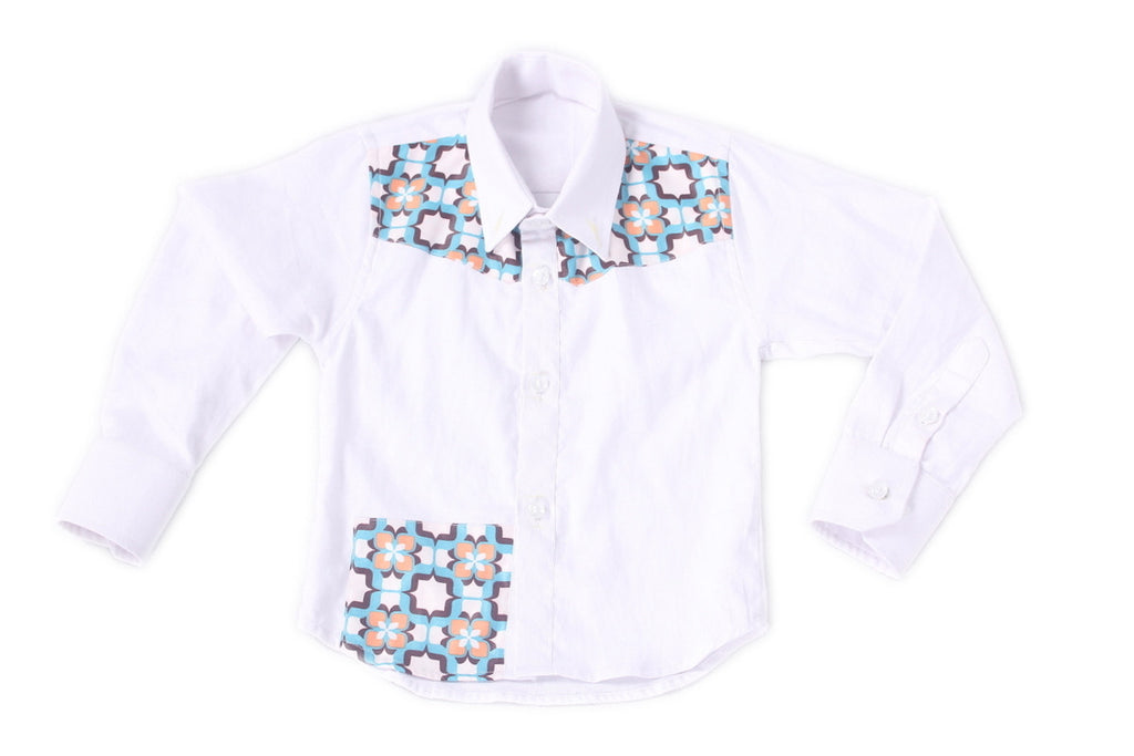 Boys Long Sleeves Fitted Shirts White enhanced with a fusion of African Print