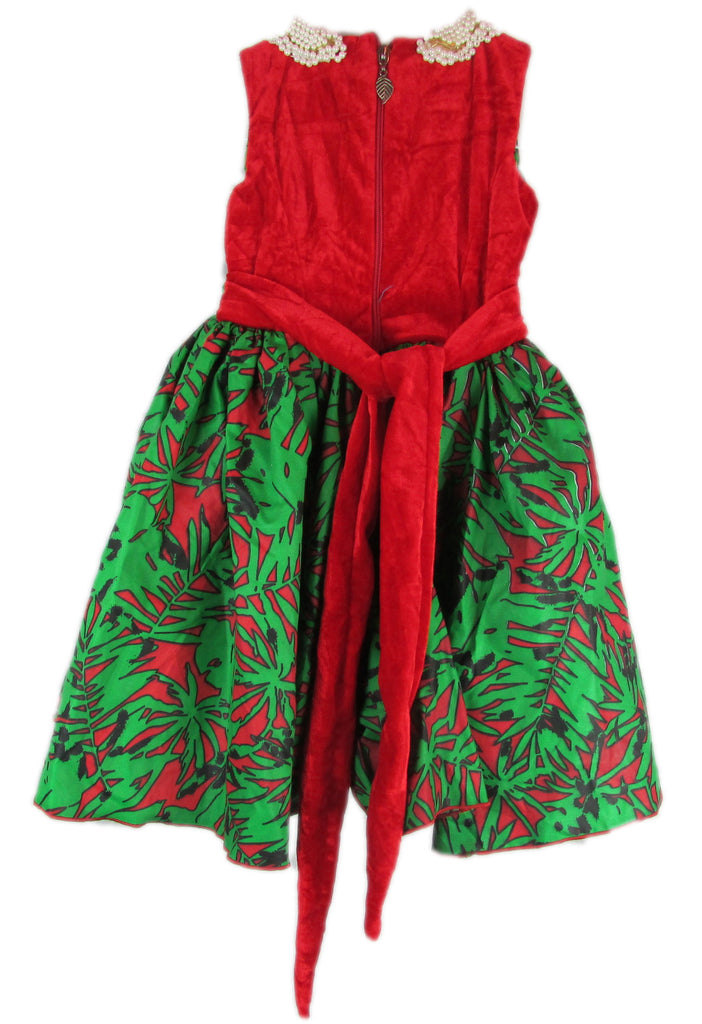 Girls African Print Pleated Flared Occasion Party Dresses With Beads Neck Red and Green