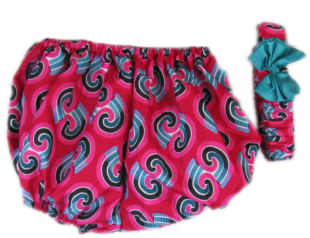 Girls African Print Flared Dresses with head band and pants Pink and Blue
