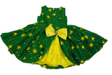 Girls African Print Bow Pin Up Flared Dresses Green and Yellow