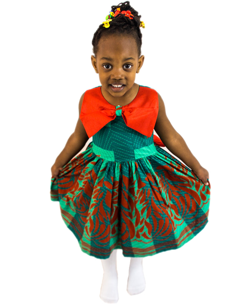 Christmas dresses for kids -  Girls African Print Christmas Pleated Flared Dress With Bow Lapel Children Clothes Red And Green