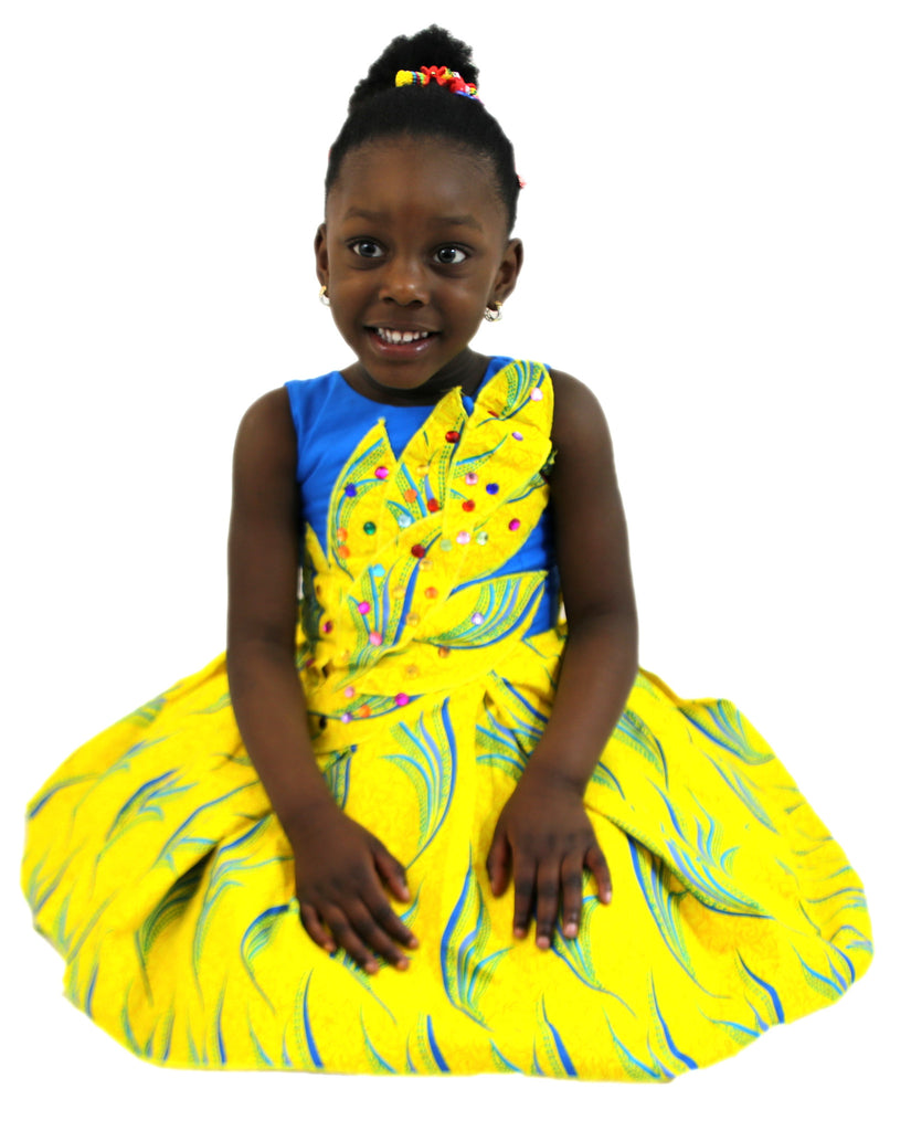 Girls African Print Box Pleated Leafy Design Children Clothes Dresses Yellow and Blue