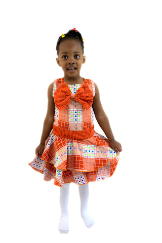Girls African Print Flared Bow Pin Up Skirts Children Clothes Blue and Yellow