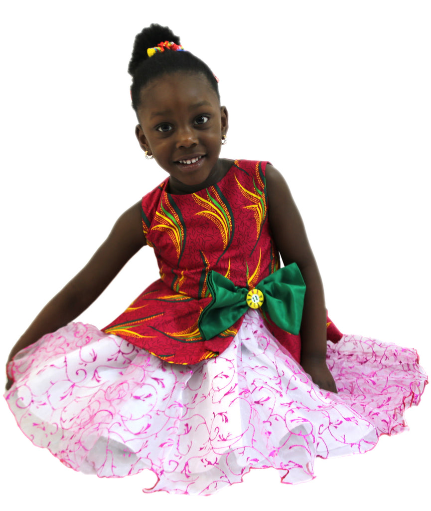 Pink Nigerian African Print Ankara Girls Kids Party Peplum Dress. #DareToStandOut