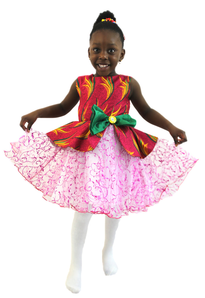 Girls African Print Peplum Dresses with Net Flared Buttom Red and Pink