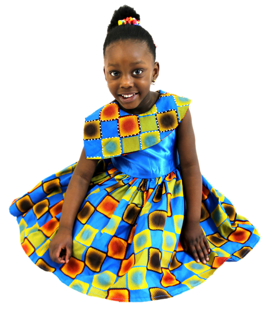 Girls African Print Box Design Flared Dresses. Feature Lapel Children Clothes Blue