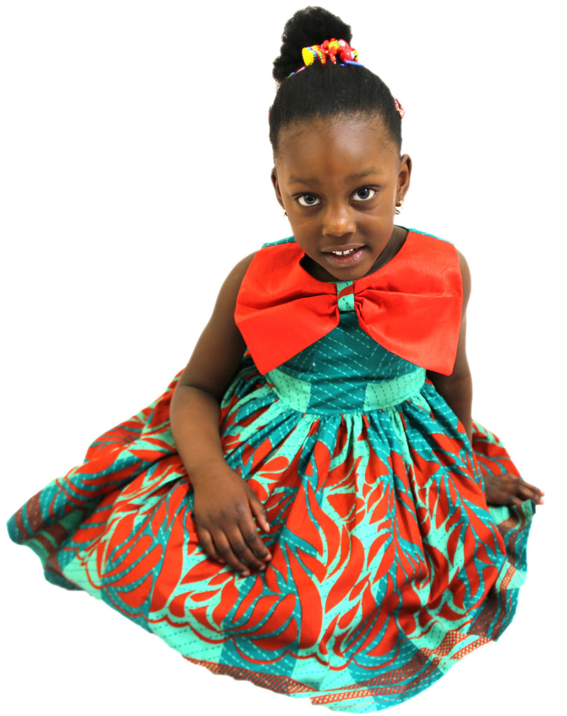 Girls African Print Christmas Pleated Flared Dress With Bow Lapel Children Clothes Red and Green