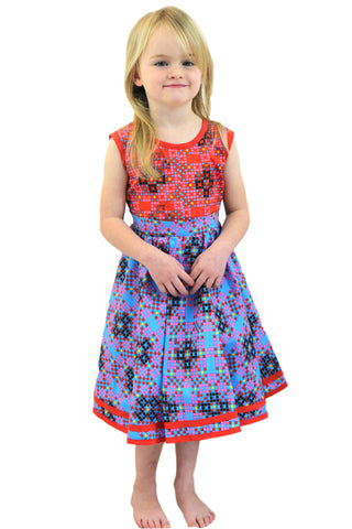 Girls African Print Christmas Stepped Flared Dresses (Red and Green)