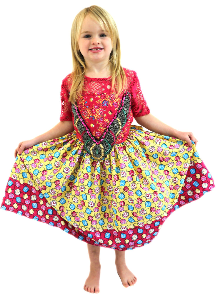 Girls African Print Lace Beaded Dresses. Flared Children Clothes Pink and Yellow