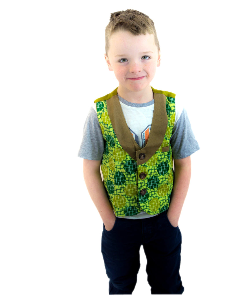 Boys Waist Coats - A Fusion of Denim and African Print  Green patterned Ankara African Print waist coat.  Fitted with an an elastic back for a comfortable fit.  Suitable for a formal or casual look.