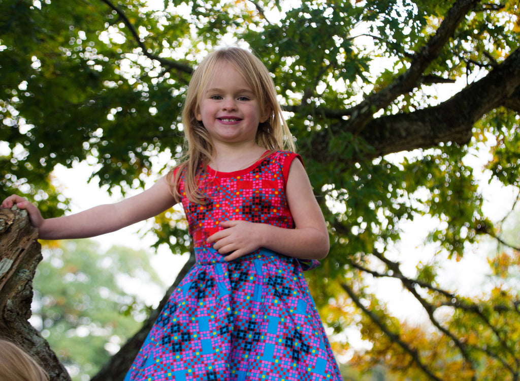 Girls Dot Pattern African Print A Line Dresses Pink and Blue A lovely dress made with patterned Africa print.