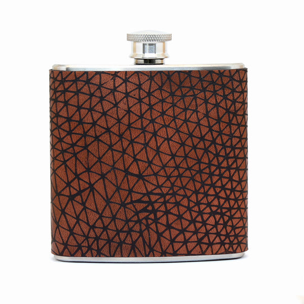 Geometry Pattern Engraved Leather Hip Flask