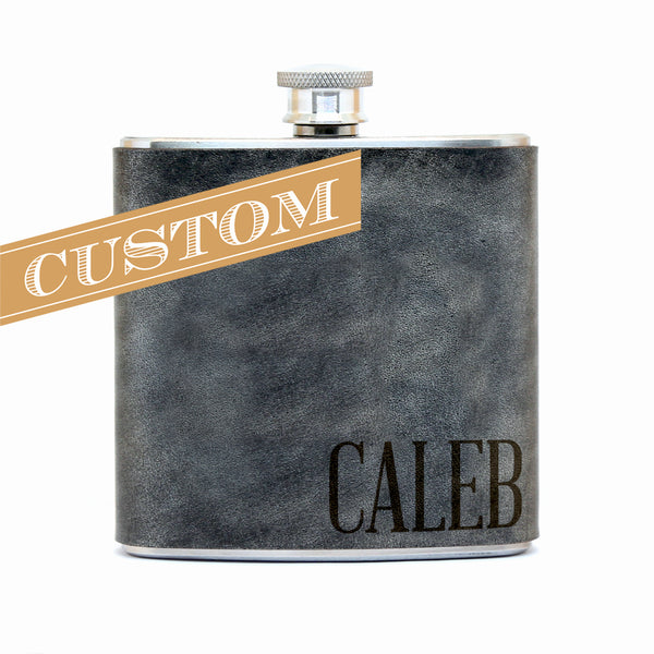 Personalized Text – Engraved Leather Hip Flask  – 6 oz stainless steel – hand-stitched