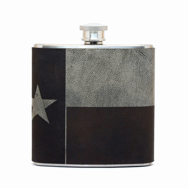 Texas Flag Leather Hip Flask