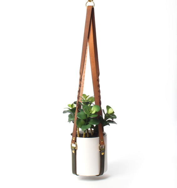 Braided Leather Hanging Planter