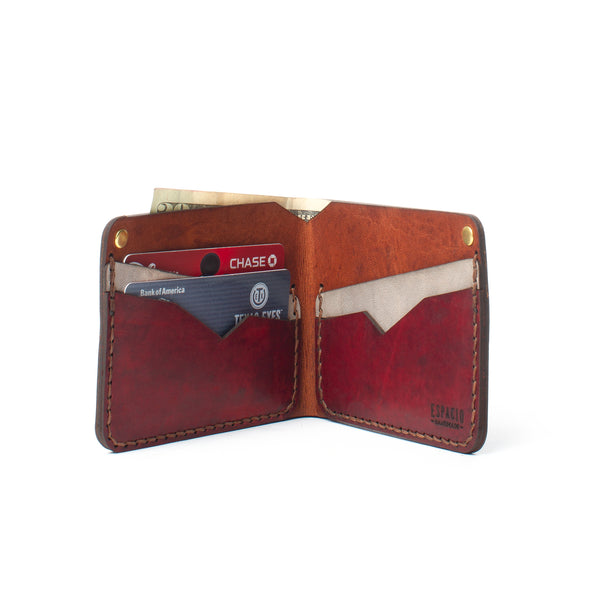 Classic Bifold Leather Wallet - Cardinal Red