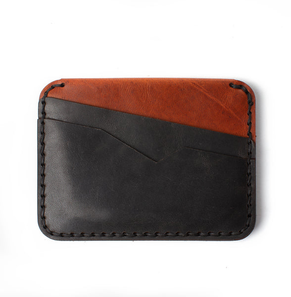 Slim Jim Wallet - Black on Brown