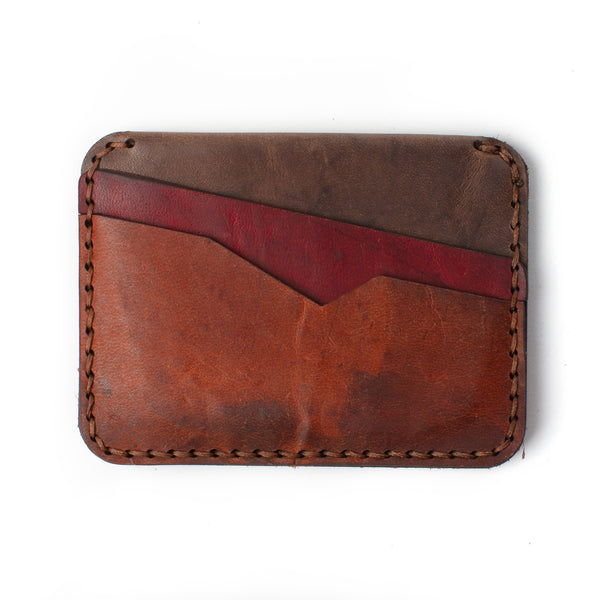 Slim Jim Leather Wallet - Cowboy Brown, Cardinal and Dark Ash
