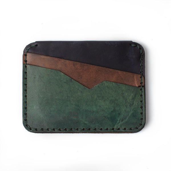 Slim Jim Leather Wallet - Teal & Dark Ash on Indigo