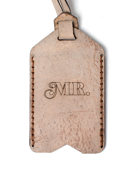 Leather Luggage Tags - Mr. & Mrs. Set