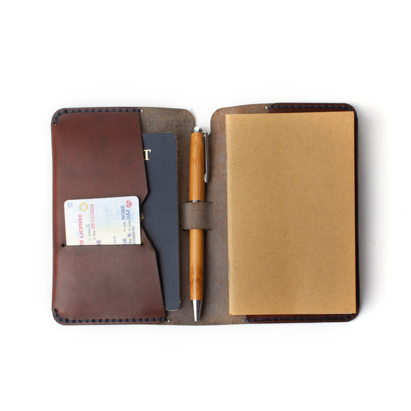 Leather Journeyman Pocket Notebook with Passport Pouch
