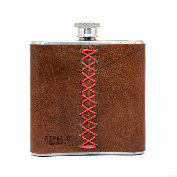 Badass Boss Lady Leather Wrapped Hip Flask