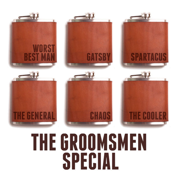 The Great Big Groomsmen Special – 9 Leather Flasks – Customized