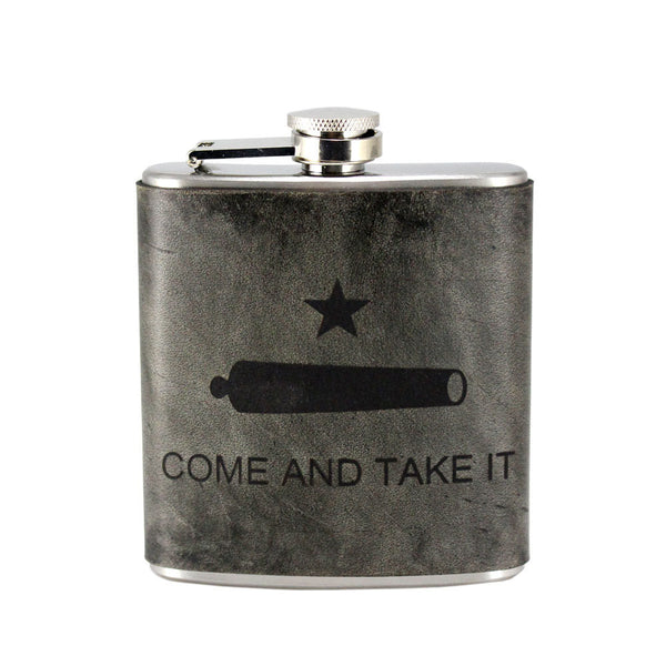 Come and Take It Leather Hip Flask