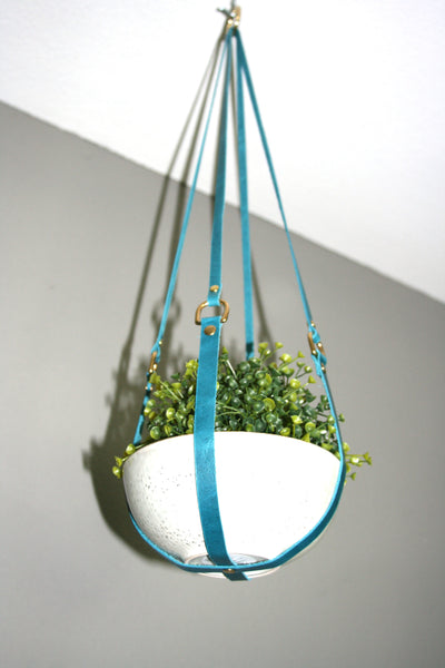 Turquoise Leather Hanging Planter