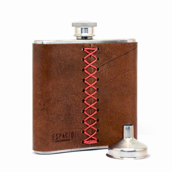Flask with Custom Artwork – Engraved Leather Hip Flask  – 6 oz stainless steel – hand-stitched